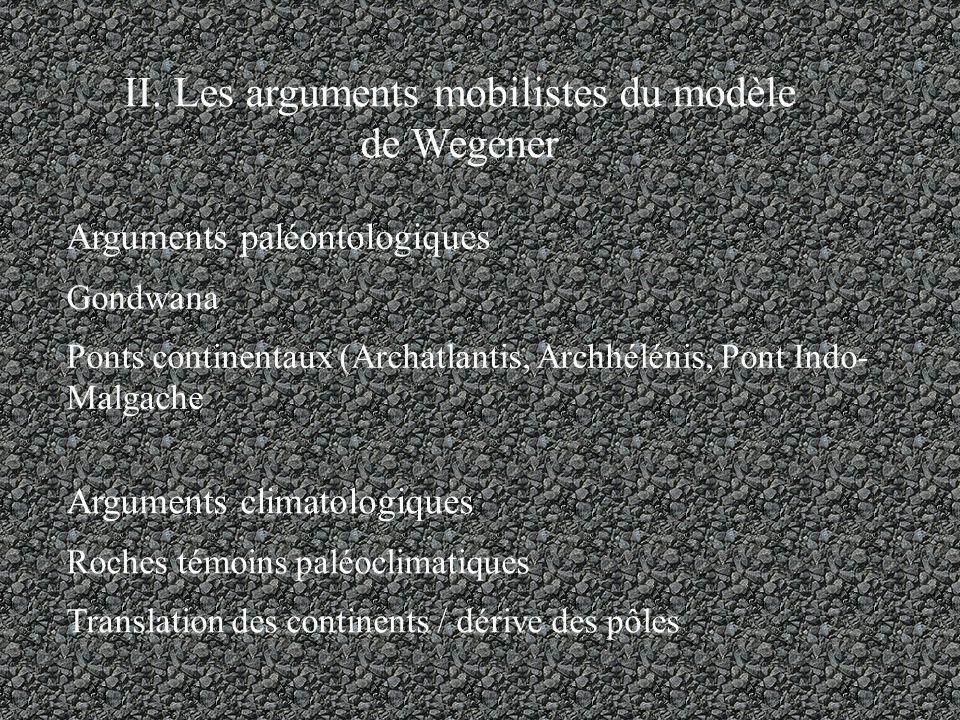 II. Les arguments mobilistes du modèle de Wegener