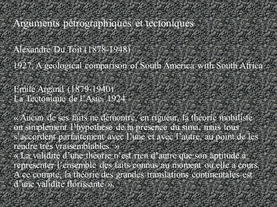 Arguments pétrographiques et tectoniques