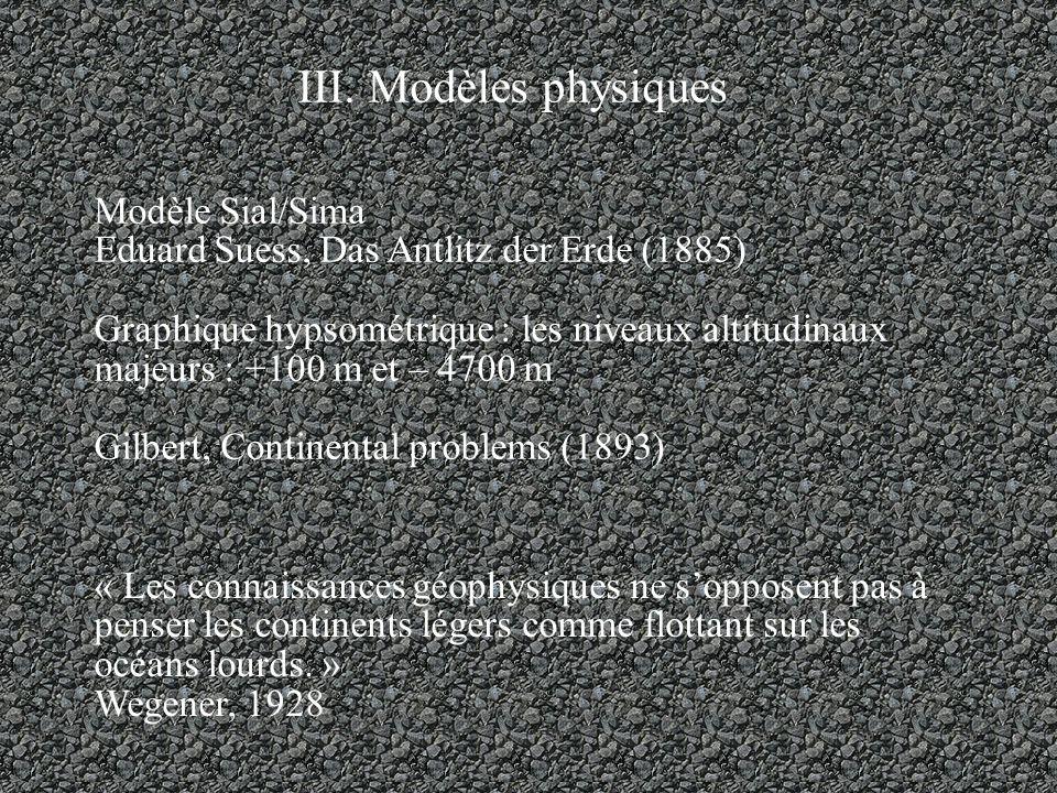 III. Modèles physiques Modèle Sial/Sima