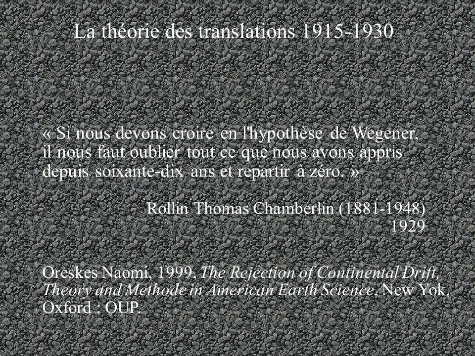La théorie des translations 1915-1930