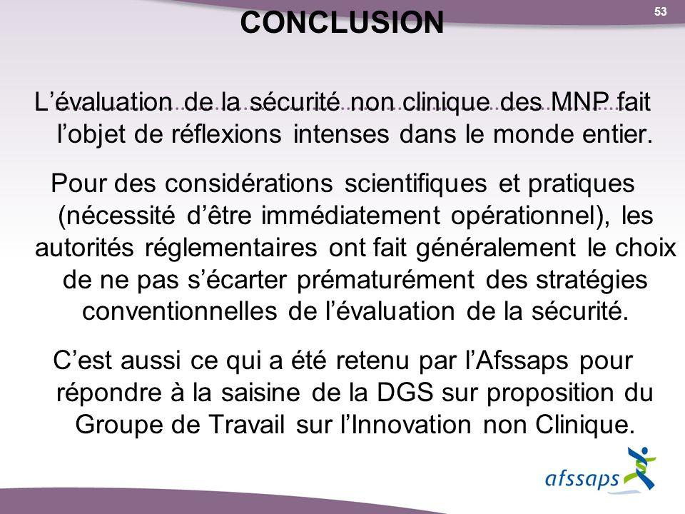 CONCLUSION L'évaluation de la sécurité non clinique des MNP fait l'objet de réflexions intenses dans le monde entier.