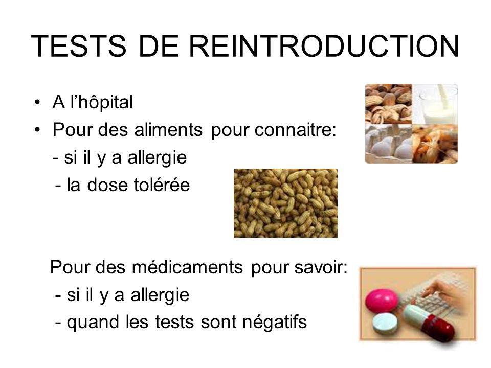 TESTS DE REINTRODUCTION