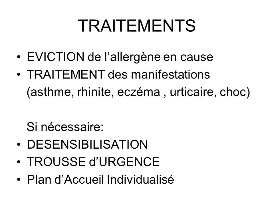 TRAITEMENTS EVICTION de l'allergène en cause
