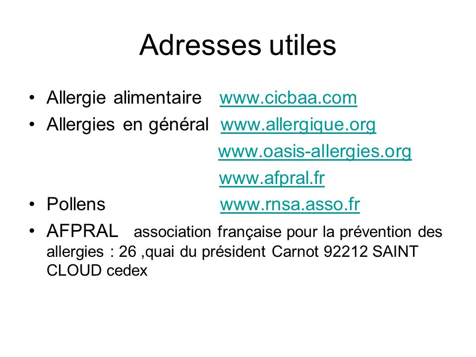Adresses utiles Allergie alimentaire www.cicbaa.com