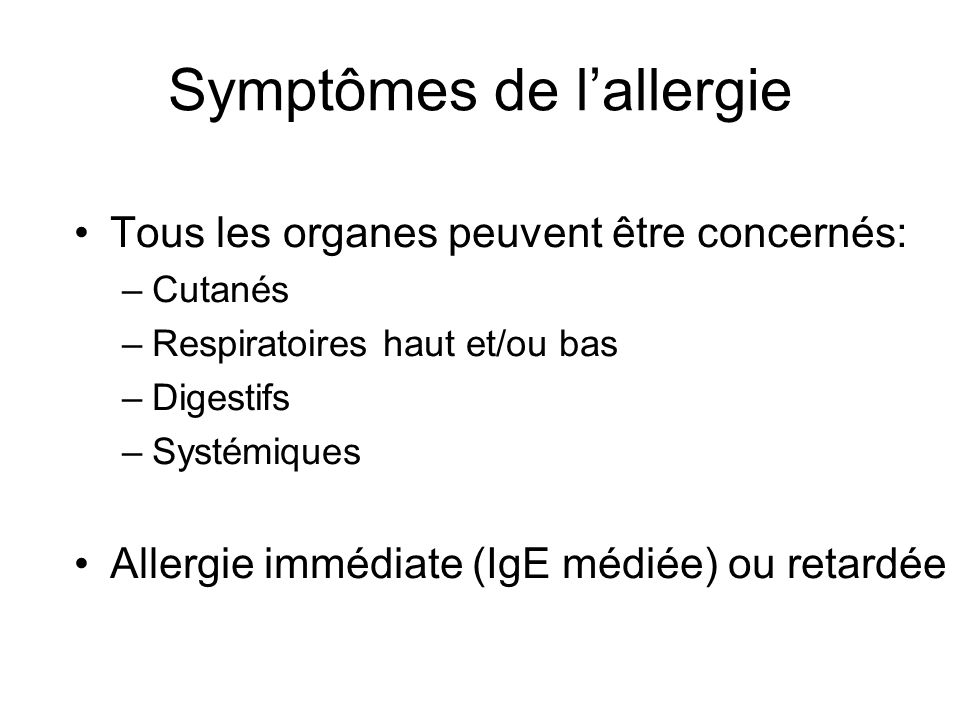 Symptômes de l'allergie