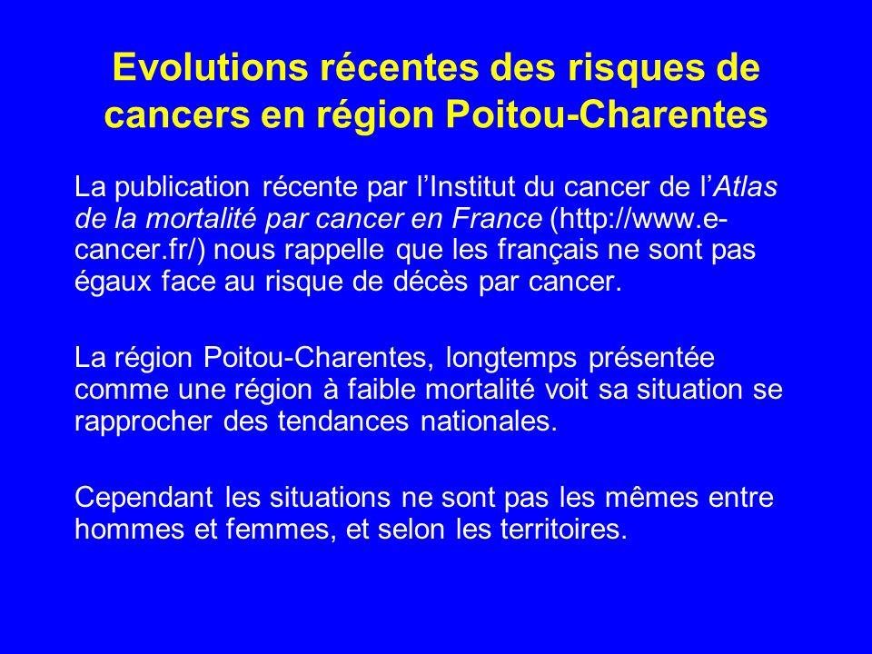 Evolutions récentes des risques de cancers en région Poitou-Charentes