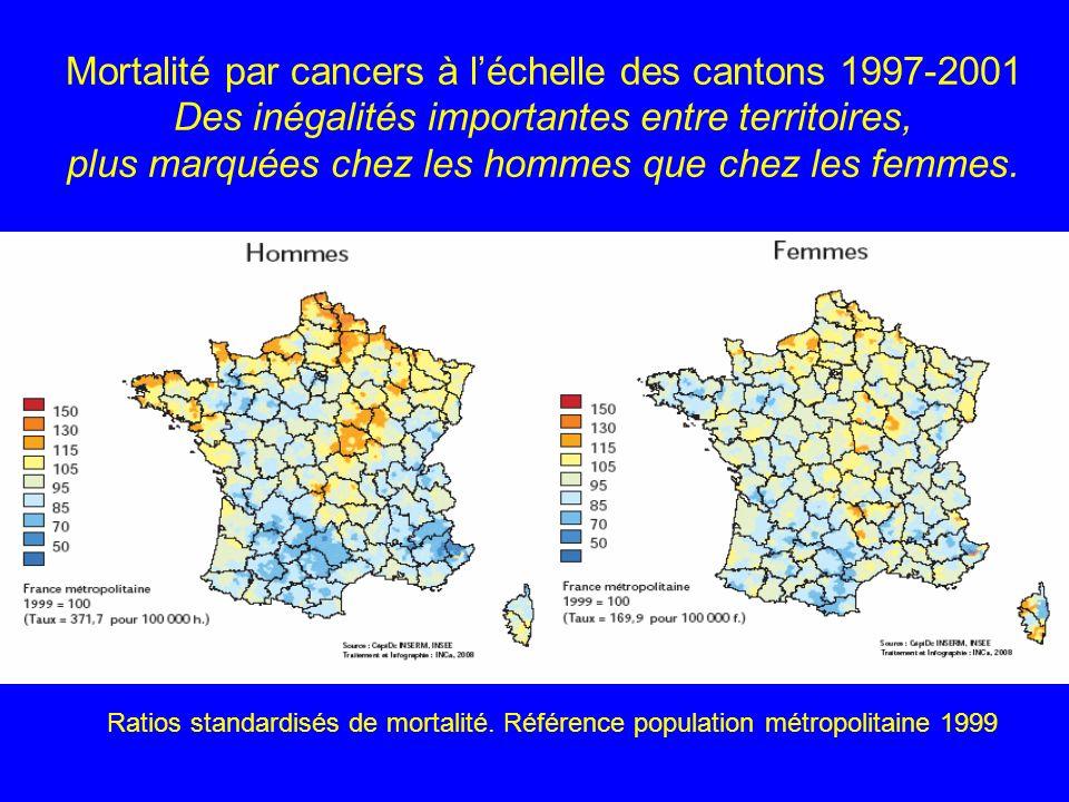 Mortalité par cancers à l'échelle des cantons 1997-2001 Des inégalités importantes entre territoires, plus marquées chez les hommes que chez les femmes.