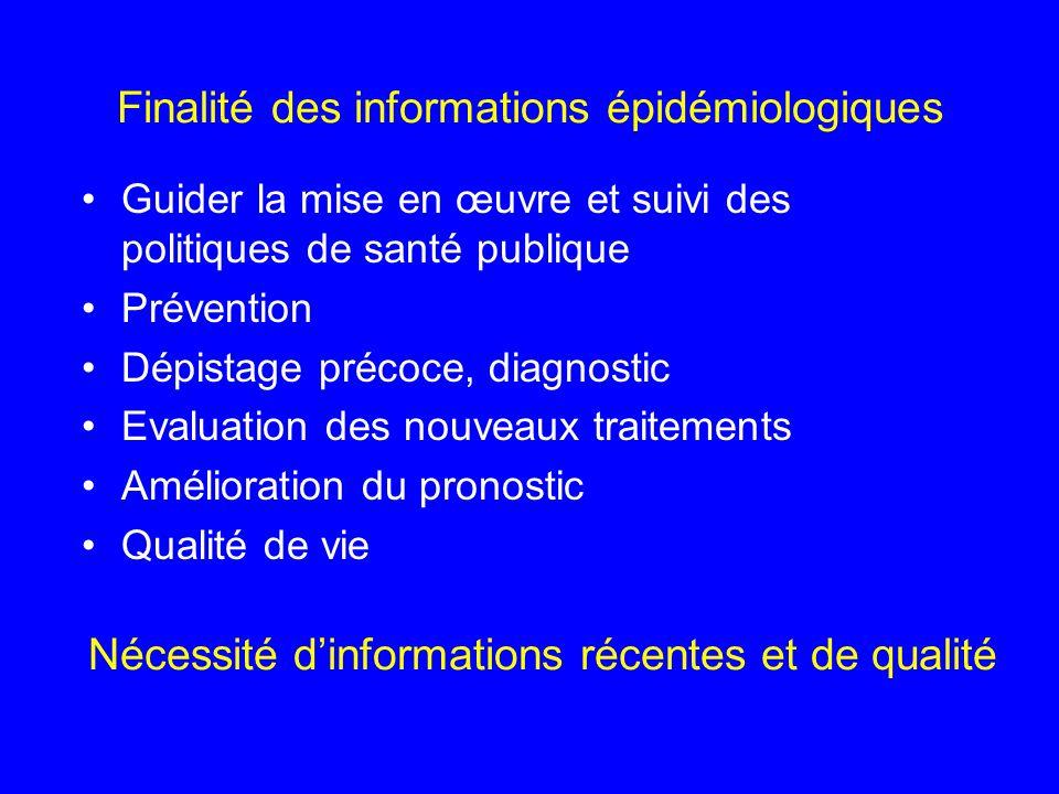 Finalité des informations épidémiologiques