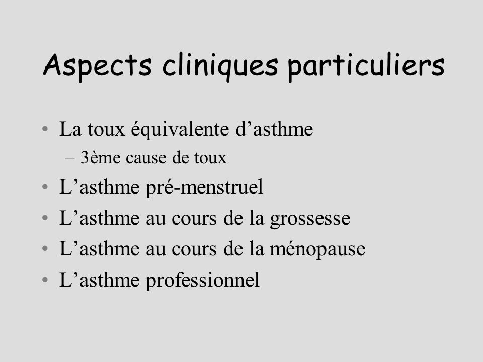 Aspects cliniques particuliers