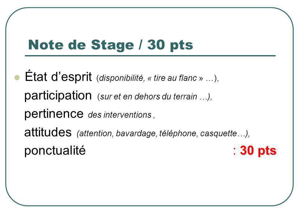 Note de Stage / 30 pts État d'esprit (disponibilité, « tire au flanc » …), participation (sur et en dehors du terrain …),