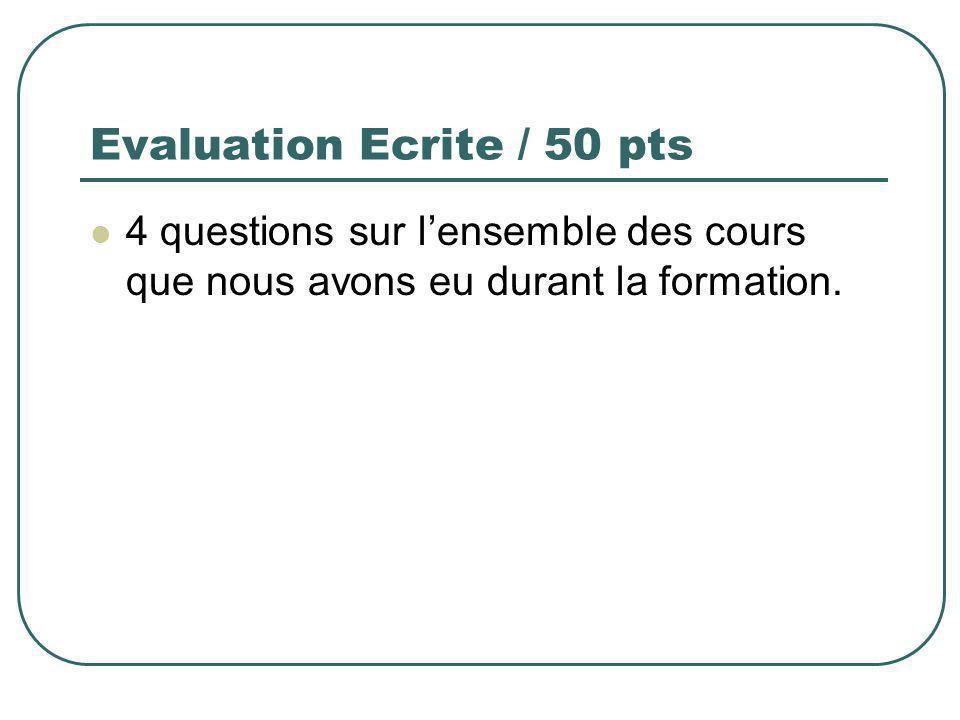 Evaluation Ecrite / 50 pts