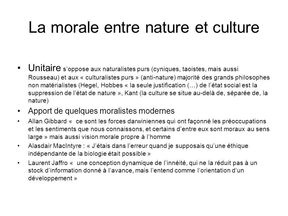 La morale entre nature et culture