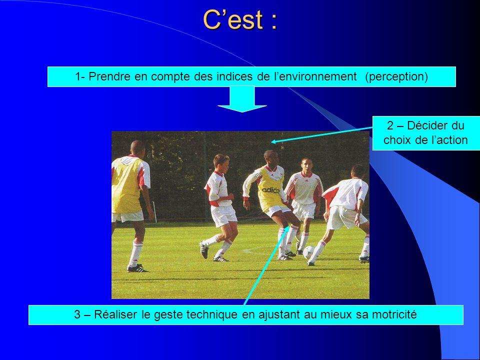 C'est : 1- Prendre en compte des indices de l'environnement (perception) 2 – Décider du choix de l'action.