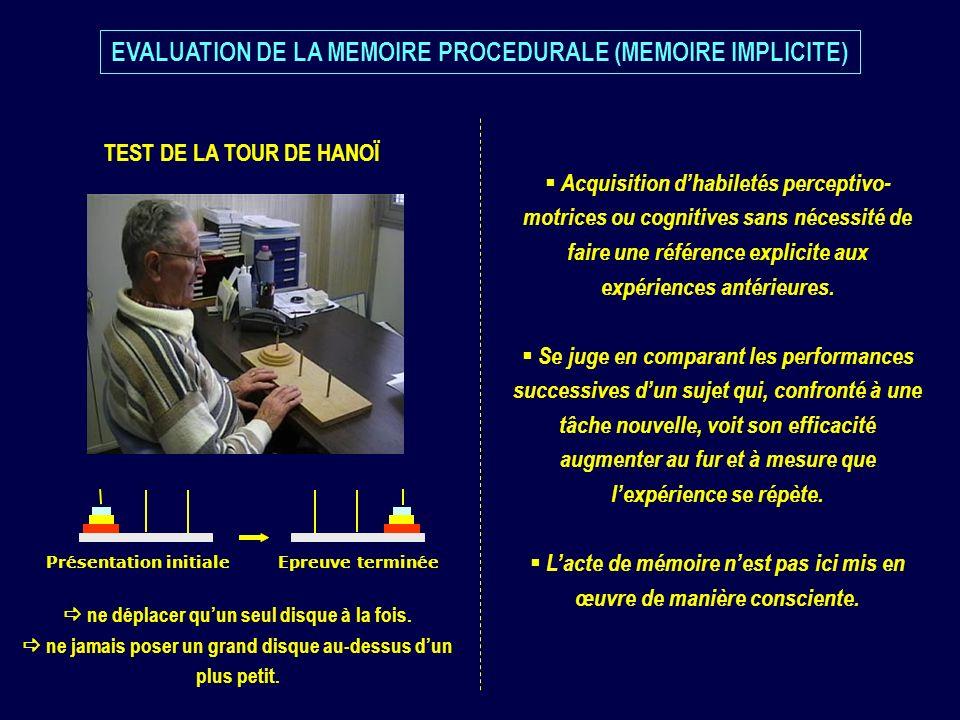 EVALUATION DE LA MEMOIRE PROCEDURALE (MEMOIRE IMPLICITE)