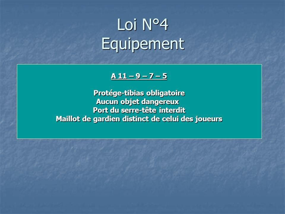 Loi N°4 Equipement A 11 – 9 – 7 – 5 Protége-tibias obligatoire
