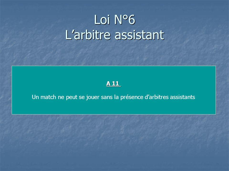 Loi N°6 L'arbitre assistant