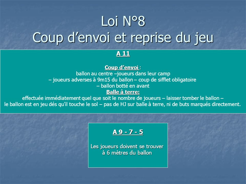 Loi N°8 Coup d'envoi et reprise du jeu