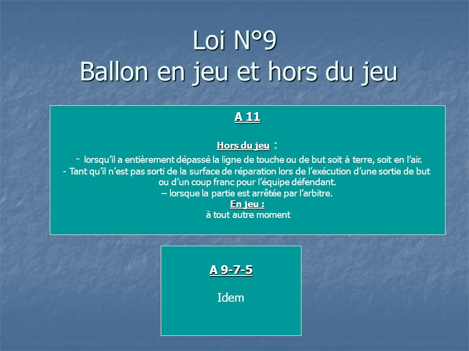 Loi N°9 Ballon en jeu et hors du jeu