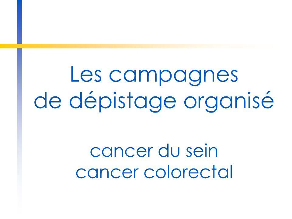 Les campagnes de dépistage organisé cancer du sein cancer colorectal