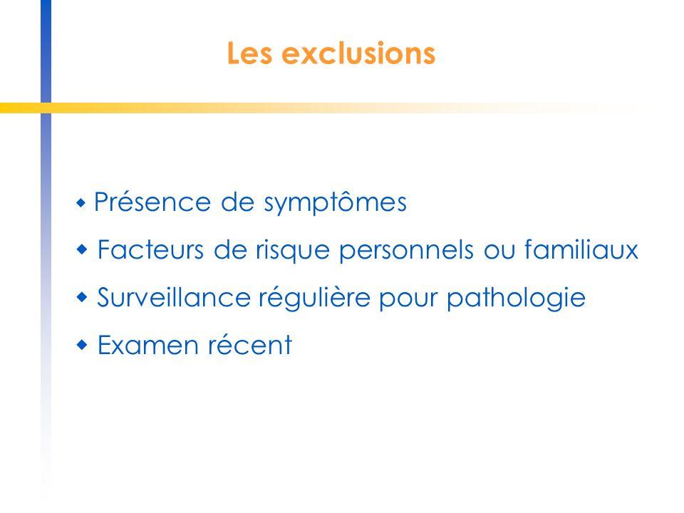 Les exclusions  Facteurs de risque personnels ou familiaux