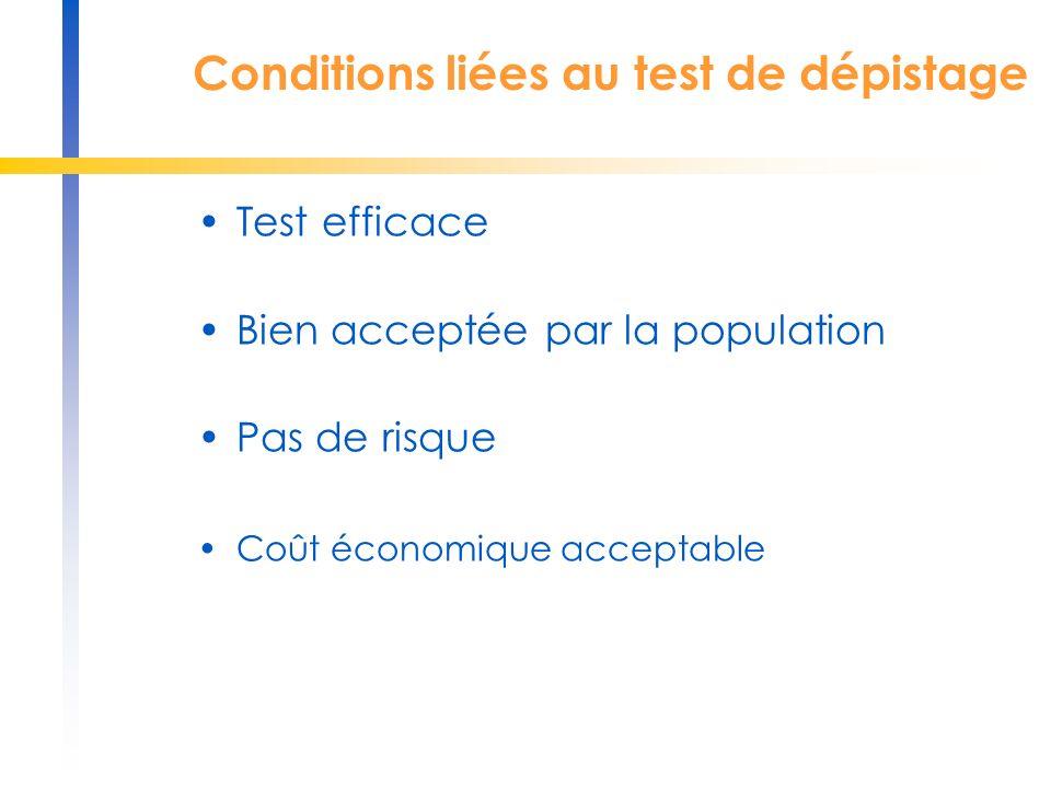 Conditions liées au test de dépistage