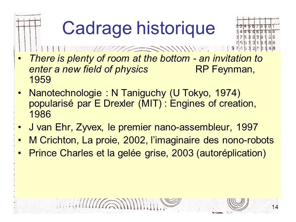Cadrage historiqueThere is plenty of room at the bottom - an invitation to enter a new field of physics RP Feynman, 1959.