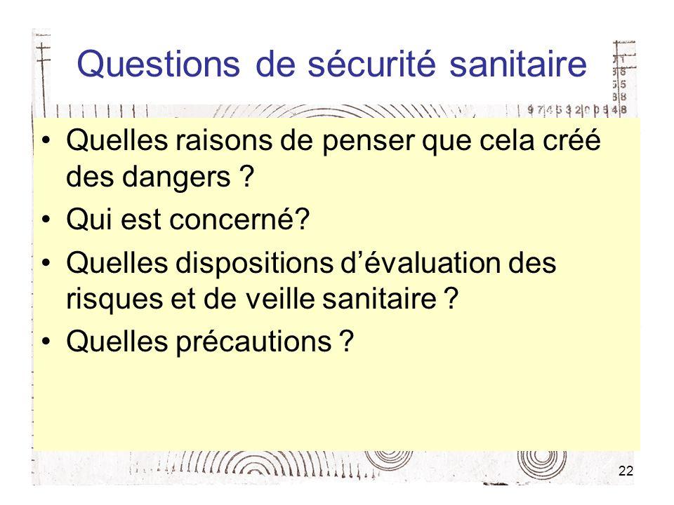 Questions de sécurité sanitaire