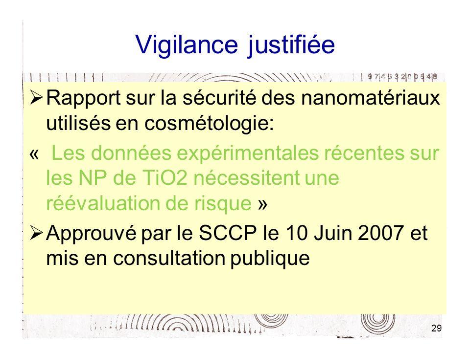 Vigilance justifiée Rapport sur la sécurité des nanomatériaux utilisés en cosmétologie: