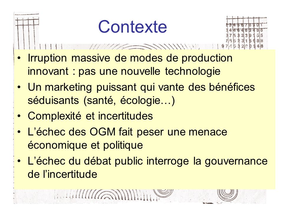 Contexte Irruption massive de modes de production innovant : pas une nouvelle technologie.