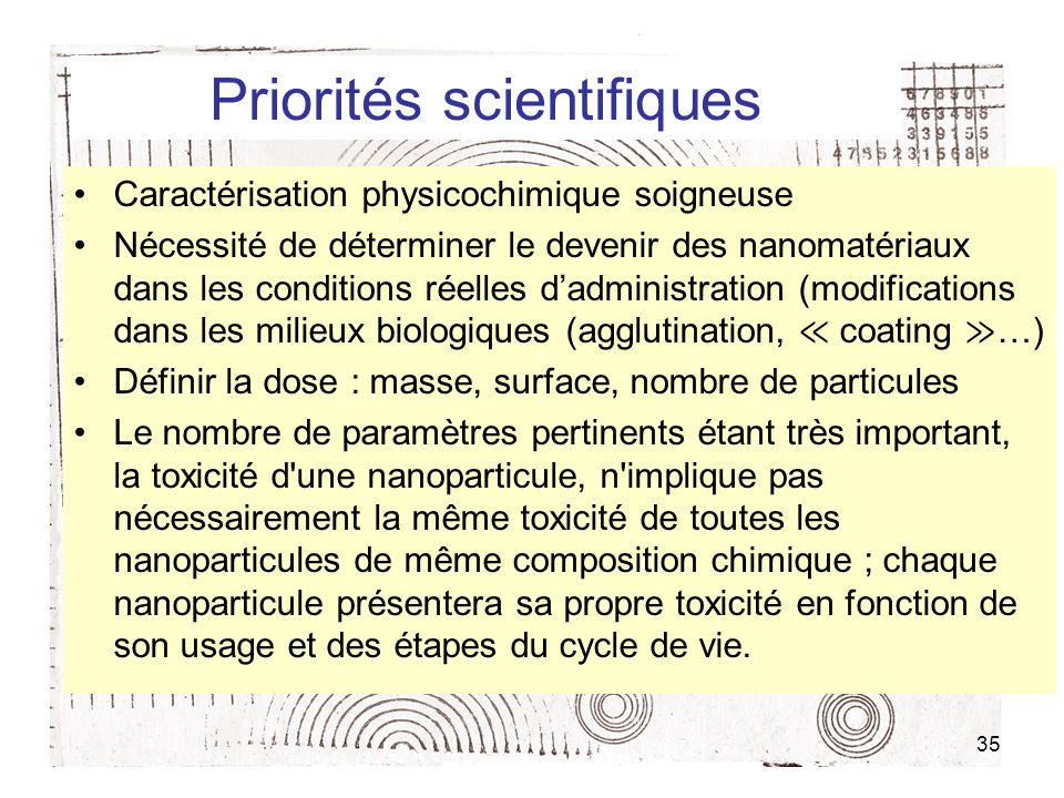 Priorités scientifiques