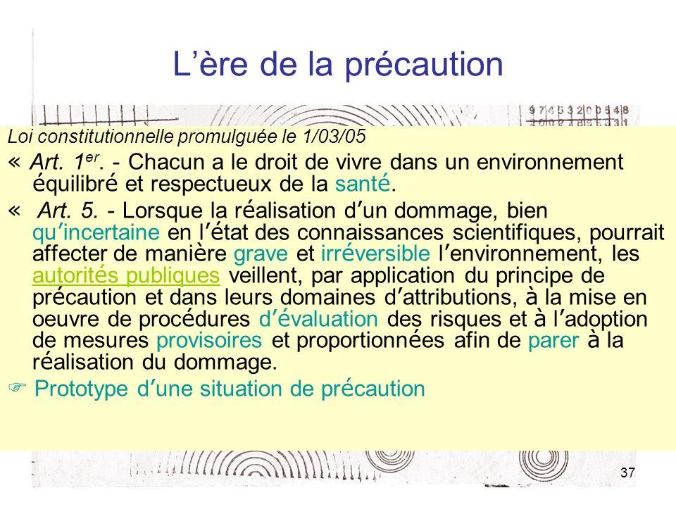 L'ère de la précaution Loi constitutionnelle promulguée le 1/03/05.
