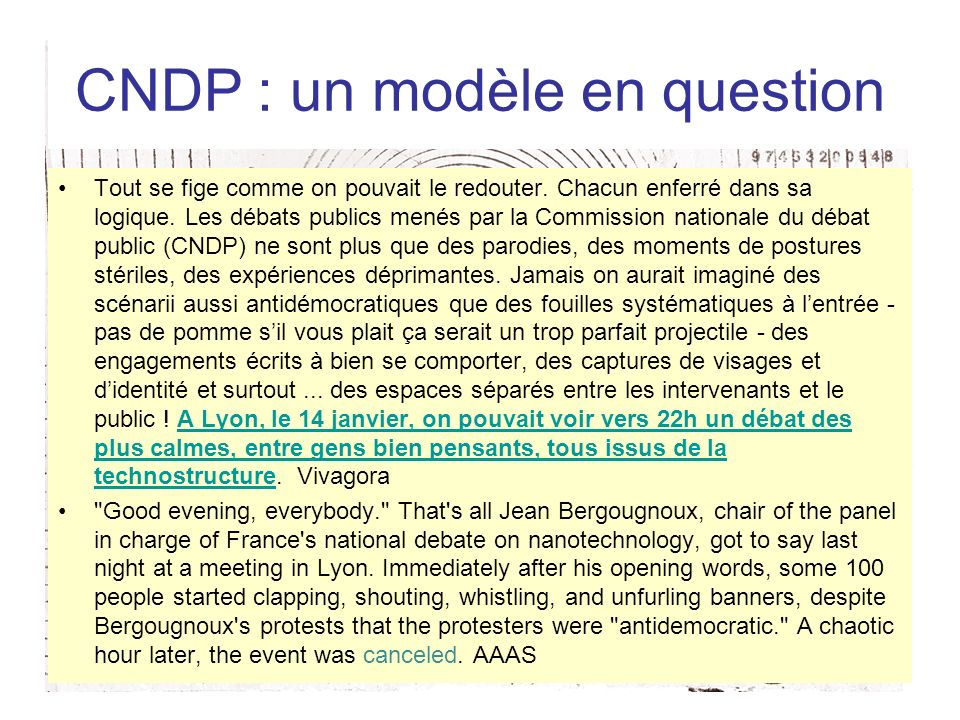 CNDP : un modèle en question