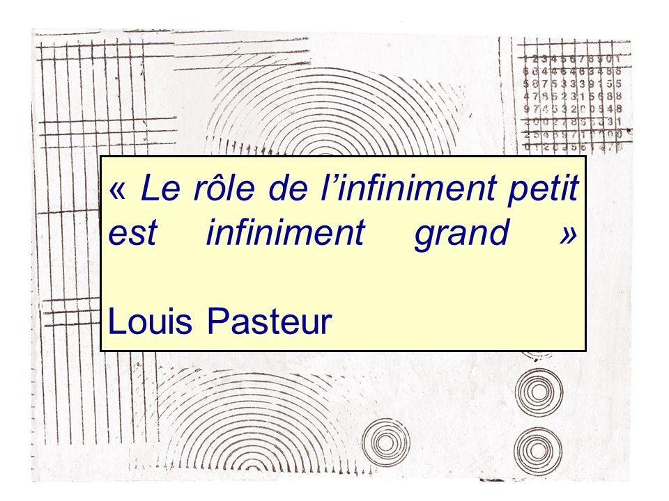« Le rôle de l'infiniment petit est infiniment grand » Louis Pasteur