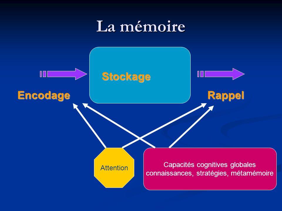 La mémoire Stockage Encodage Rappel Capacités cognitives globales