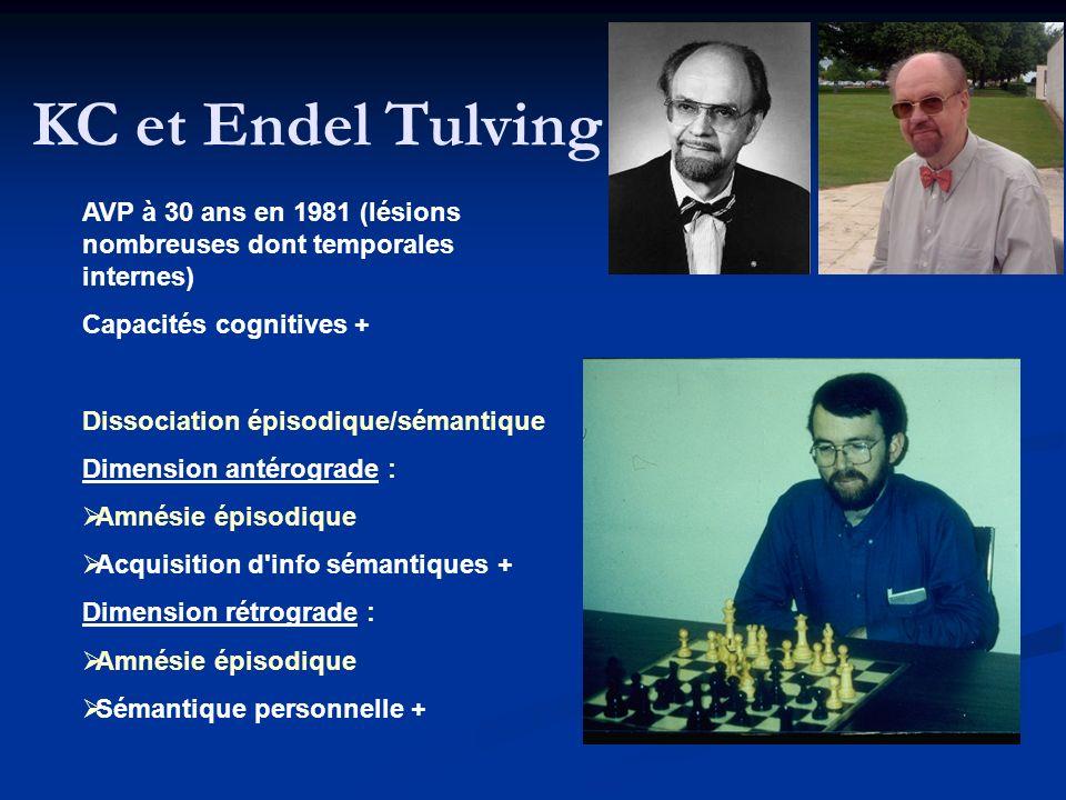 KC et Endel Tulving AVP à 30 ans en 1981 (lésions nombreuses dont temporales internes) Capacités cognitives +
