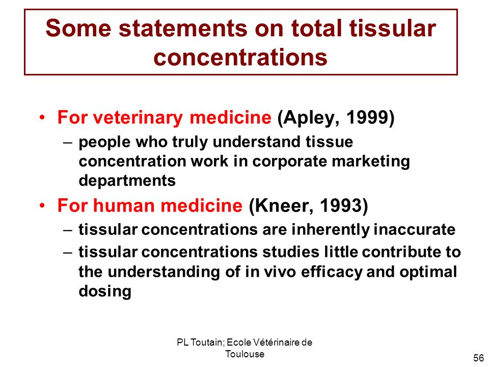 Some statements on total tissular concentrations