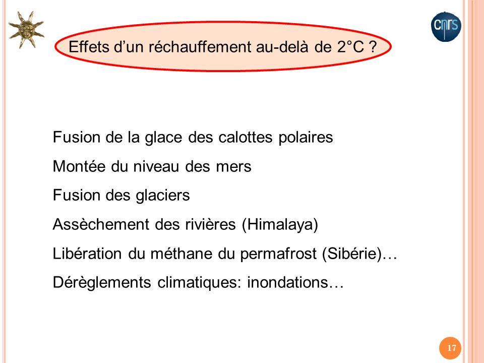 Effets d'un réchauffement au-delà de 2°C