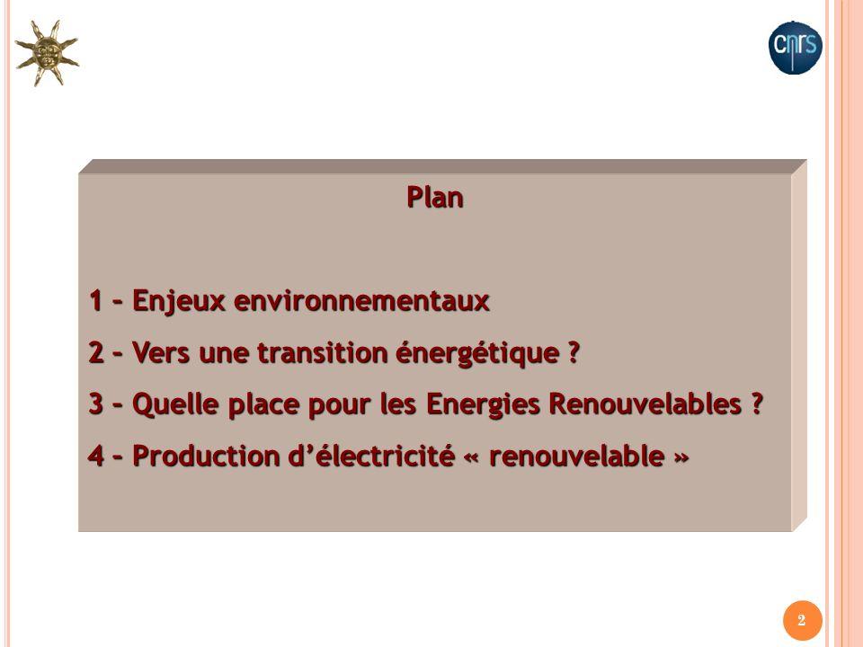 1 – Enjeux environnementaux 2 – Vers une transition énergétique