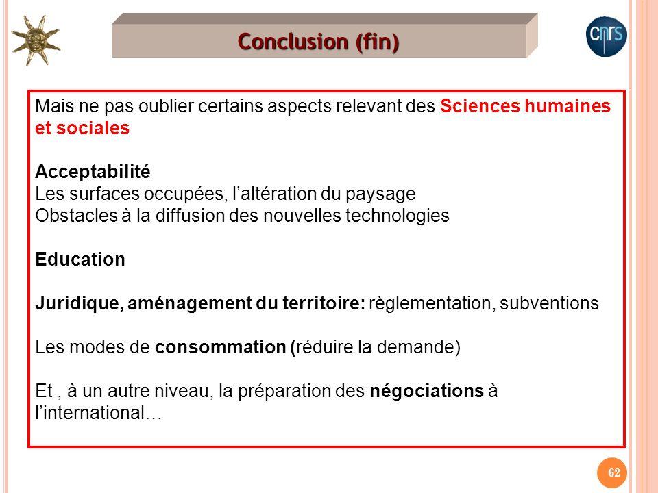 Conclusion (fin) Mais ne pas oublier certains aspects relevant des Sciences humaines et sociales. Acceptabilité.