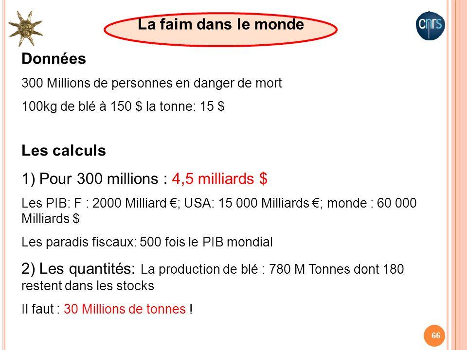 1) Pour 300 millions : 4,5 milliards $