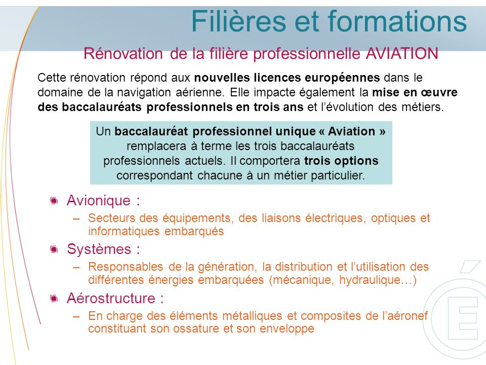 Filières et formations