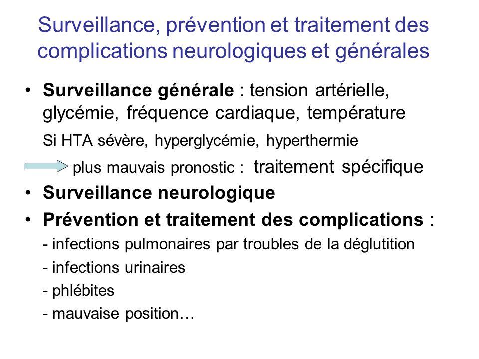 Surveillance, prévention et traitement des complications neurologiques et générales