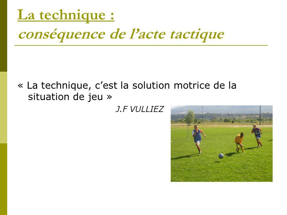 La technique : conséquence de l'acte tactique