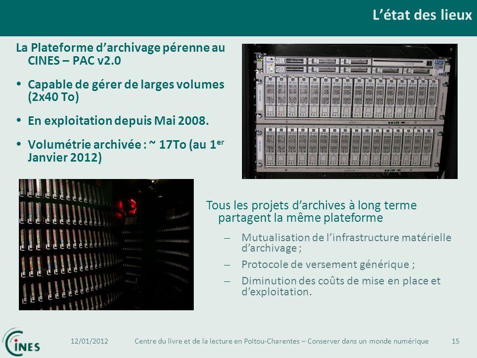 L'état des lieux La Plateforme d'archivage pérenne au CINES – PAC v2.0