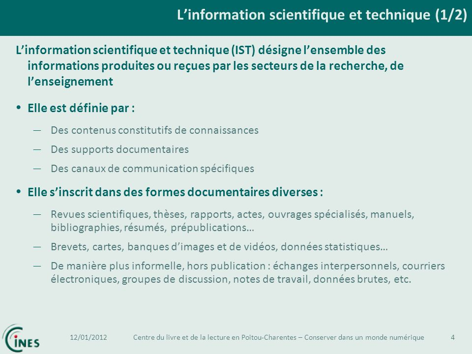 L'information scientifique et technique (1/2)
