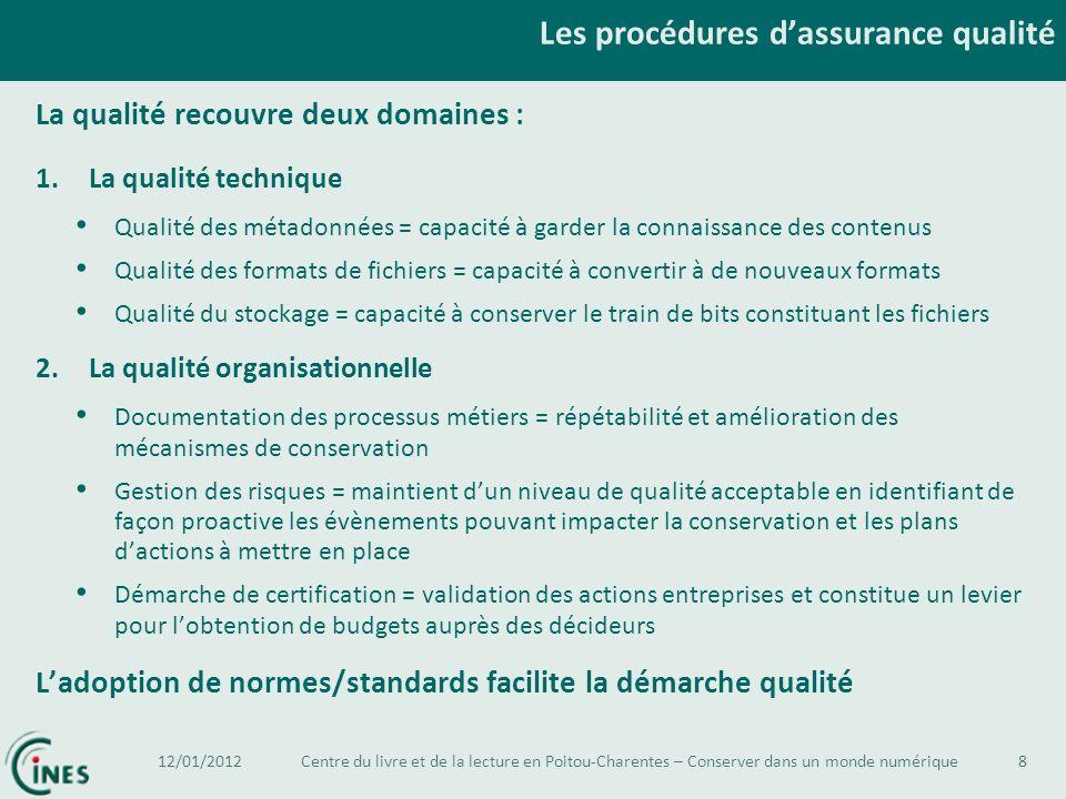 Les procédures d'assurance qualité