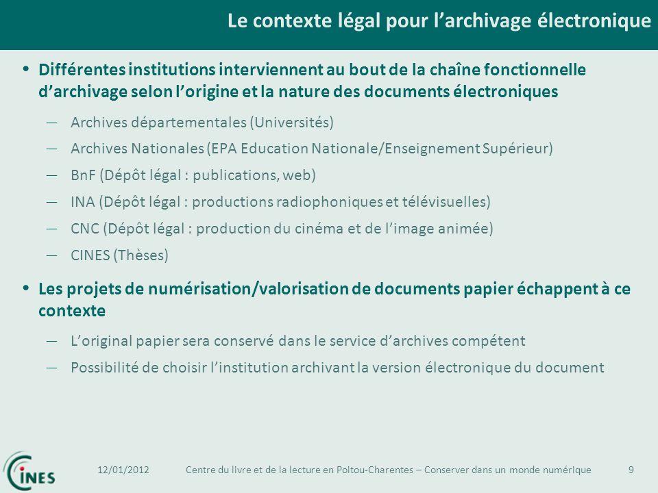 Le contexte légal pour l'archivage électronique