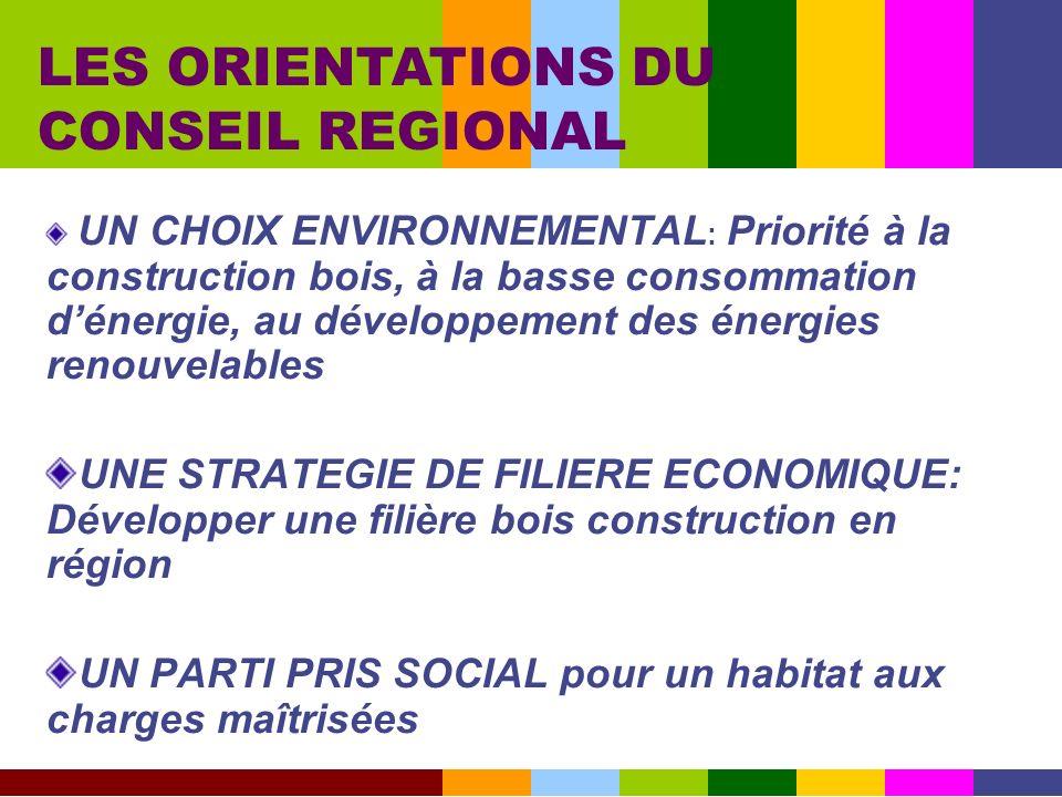 LES ORIENTATIONS DU CONSEIL REGIONAL