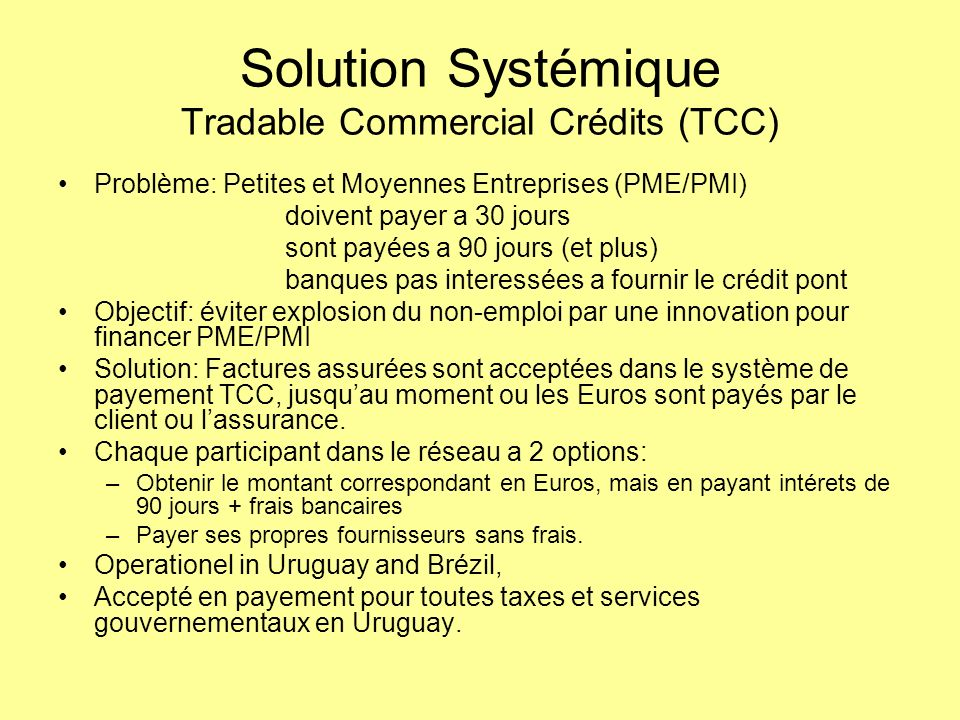 Solution Systémique Tradable Commercial Crédits (TCC)