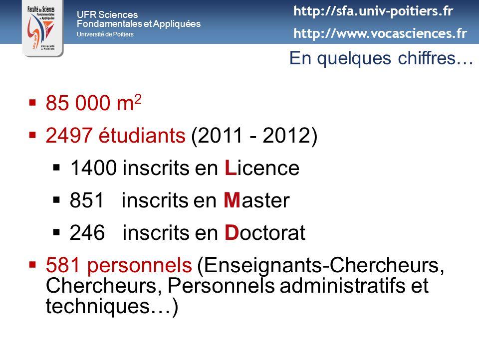 85 000 m2 2497 étudiants (2011 - 2012) 1400 inscrits en Licence